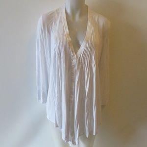ELIZABETH AND JAMES PLEATED LONG SLEEVE TOP M *